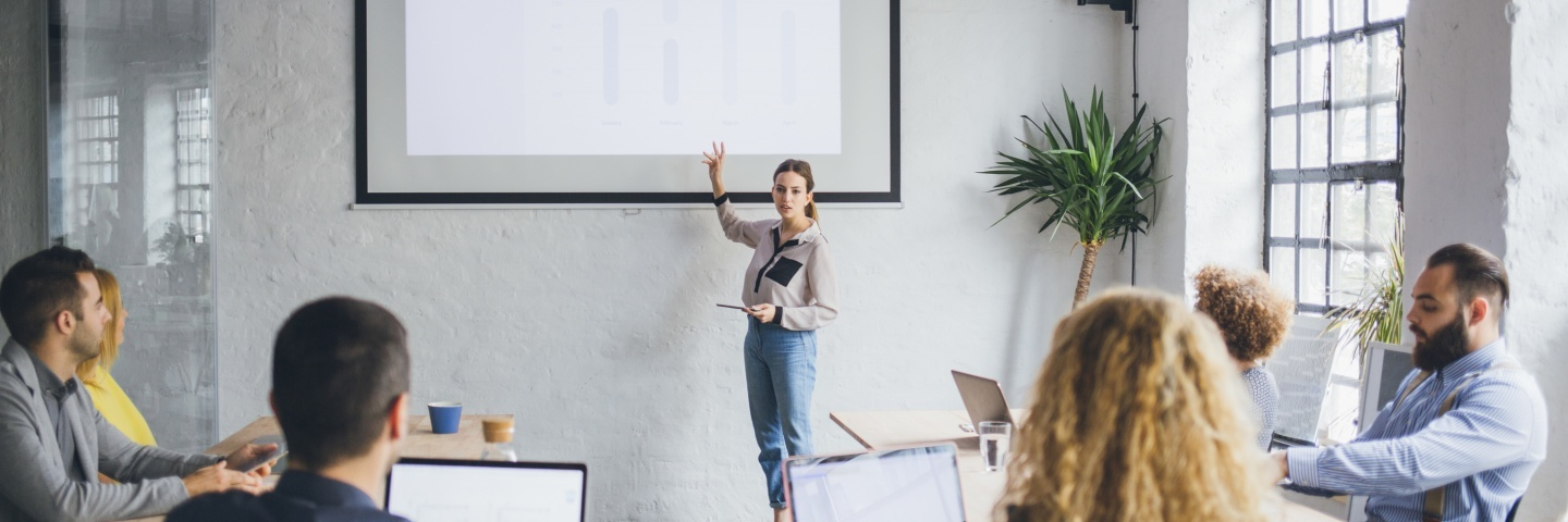 Woman presenting in front of a group of business people.