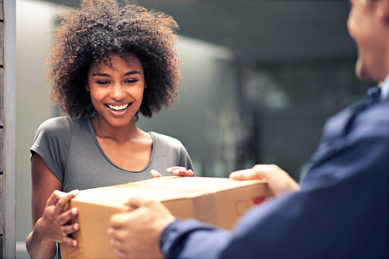 Customer receiving package